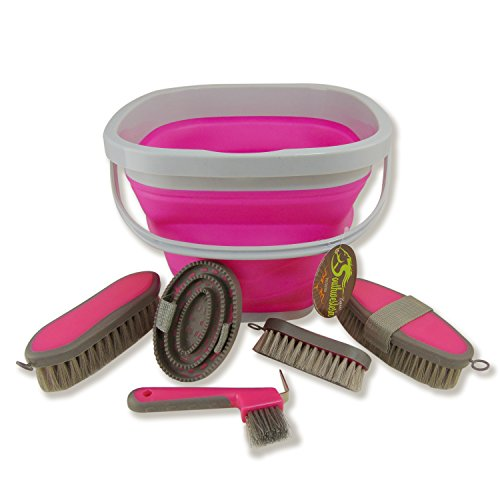 Southwestern Equine Collapsible Grooming Kit 10 Liter Bucket and 5 Grooming Tools (Pink)
