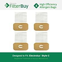 4 - Electrolux Style C Bags. Designed by FilterBuy to fit Electrolux Canister Vacuum Cleaners