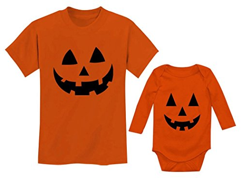 Jack O' Lantern Pumpkin Big Brother/Sister Little Brother/Sister Halloween Set Toddler Orange 3T / Baby Orange 18M (12-18M) ()