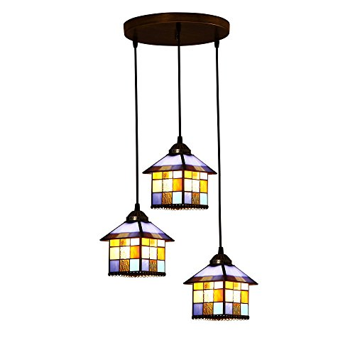 - Bieye L10200 Mediterranean House Tiffany Style Stained Glass Ceiling Pendant Fixture with 3-Light (Multi-Colored)