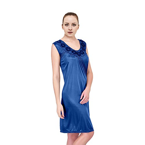 EZI Women's Satin Silk Sleeveless Nightgown,Jewel (Jewel Sleeveless Satin)