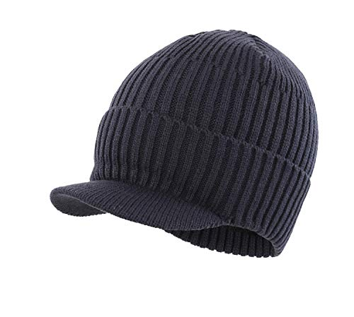 9a5445fb90b Home Prefer Men s Outdoor Newsboy Hat Winter Warm Thick Knit Beanie Cap  with Visor