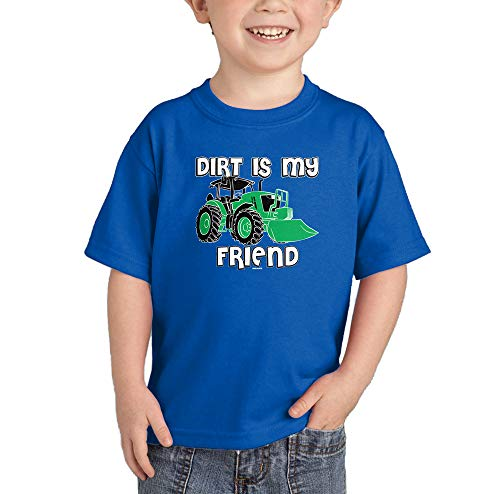 (HAASE UNLIMITED Dirt is My Friend - Tractor Dirty Infant/Toddler Cotton Jersey T-Shirt (Royal Blue, 2T))