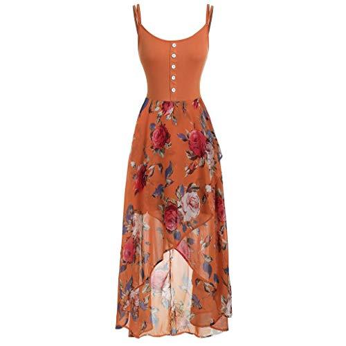 OOEOO Fashion Women Plus Size Sleeveless Buttons Floral Print Overlay High Low Dress(Orange,XXXXXL) ()