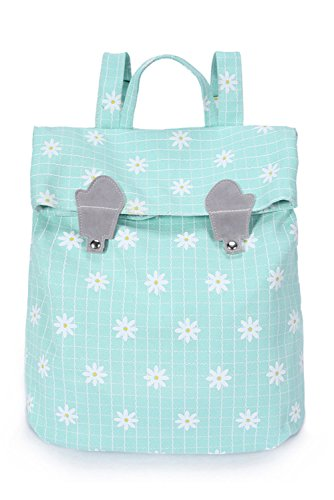 Chic Star Girls Square Canvas Korean Style School Bag Backpack with Flowers Mint Green