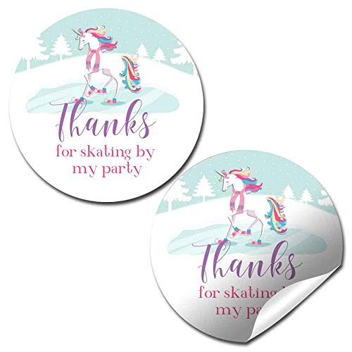 Winter Unicorn Ice Skating Themed Thank You Sticker Labels for Girls, 40 2