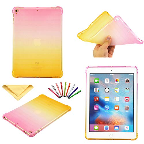 (Uliking Case for Apple iPad 9.7 inch 2018 2017 (iPad 5th/6th Gen)/iPad Pro 9.7 2016, iPad Air/Air 2 Cover,Ultra Thin Transparent TPU Back Shockproof Shell Flexible Rubber Bumper, Pink Yellow Gradient)