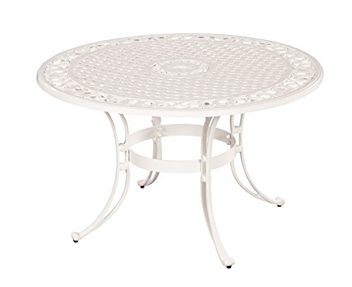 Biscayne White 48-Inch Round Outdoor Dining Table by Home Styles