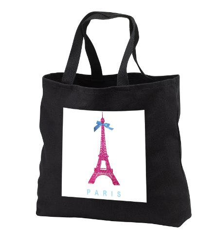InspirationzStore French theme - Hot Pink Eiffel Tower from Paris with girly blue ribbon bow - White stylish Parisian France souvenir - Tote Bags - Black Tote Bag 14w x 14h x 3d (tb_112907_1)