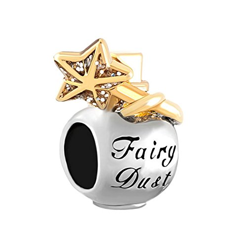 LovelyJewelry Golden Star Fairy Dust Bottle Lucky Beads For Bracelet