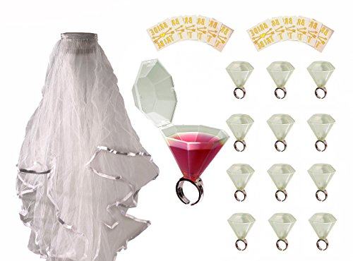 Bachelorette Bride Party Ultimate All In One Bundle; Including 1 White Bridal Wedding Veil, Set of 12 Shot Glass Rings, and 12 Bride Tribe Temporary Tattoos Made From Shiny Metallic Gold Foil