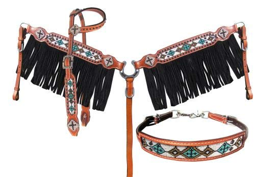 Showman 4 Piece Beaded Navajo Cross Design Leather Headstall, Breast Collar & Wither Strap Set w/Fringe! ()