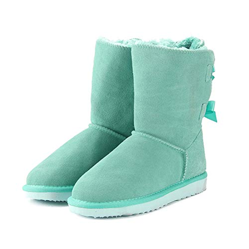Women Winter Snow Boots Genuine Leather Snowboots Female Laces for Footwear,Green Lake,7
