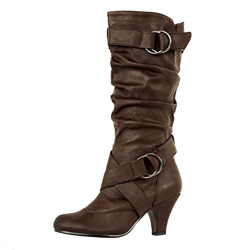 Guilty Shoes Womens Winter Mid Calf Strappy Slouchy Buckle Low Kitten Heel Fashion Boots Boots, 39 Brown PU, 5.5 B(M) US