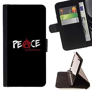 For Sony Xperia Z3 Compact / Z3 Mini (Not Z3) Case , Anarquía Rebel Negro Texto- la tarjeta de Crédito Slots PU Funda de cuero Monedero caso cubierta de piel