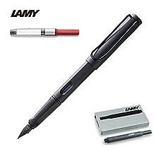 Lamy Safari Fountain Pen, Converter & Cartridges, Charcoal, Medium Nib by Lamy