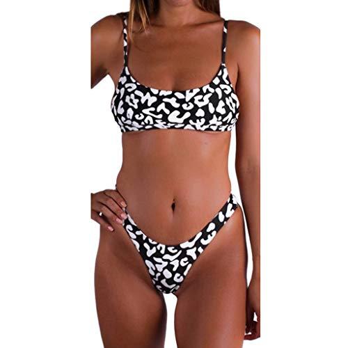 Smalle, Women Sexy Leopard Bikini Set Brazilian Swimwear Beachwear Swimsuit-Seaside Travel Essentials Black