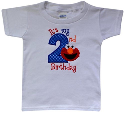 mbroidered ELMO It's My Second Birthday Turning 2 Children's T - Shirt by (3T Unisex) (Elmo Birthday Shirt)