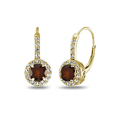 Yellow Gold Flashed Sterling Silver Garnet & White Topaz Round Dainty Halo Leverback Earrings (Yellow Gold Garnet Necklace)