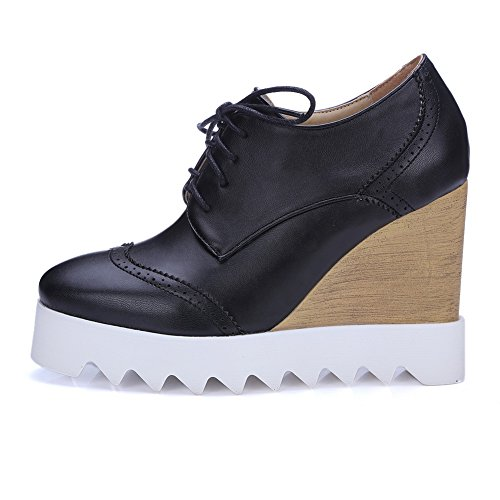 1TO9 Womens Walking-Shoes Closed-Toe Lace-Up Adjustable-Strap Low-Heel Manmade Waterproof Faux-Shearling-Or-Fur Smooth Leather Closed-Toe Platform Urethane Walking Shoes MNS02047 Black