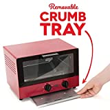 Dash Compact Toaster Oven Cooker for Bread, Bagels, Cookies, Pizza, Paninis & More with Baking Tray, Rack + Auto Shut Off Feature - Red
