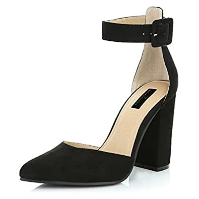 DailyShoes Women's Casual Pointed Toe Chunky Ankle Strap Buckle High Heels Sandals, Black Suede, 5 B(M) US