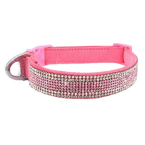LeSharp Shiny Rhinestone Puppy Dog Buckle Rhinestone Dog Collar, Cute Dazzling Sparkling Leather Dog Cat Rhinestone Collar Crystal Diamond Pet Dog Puppy Collar Neck Band Pet Supplies Pink XS