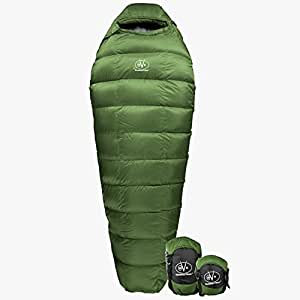Outdoor Vitals Summit 0°F Premium Down Sleeping Bag, Certified Down, Ultralight, Compact, Free Compression Bag (Green)