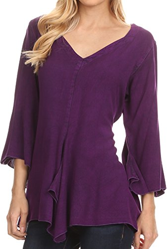 Sakkas 1661 - Geena Long Tall V Neck 3/4 Length Bell Sleeve With Adjustable Side Straps - Purple - S/M