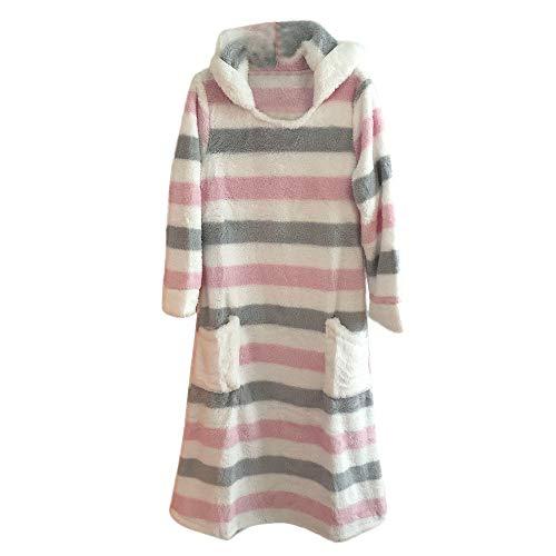 Birdfly Coral Fleece Fabric Warm Colorful Striped Hairy Pyjamas Dress Soft RABIT Hoodie (XL, Pink)