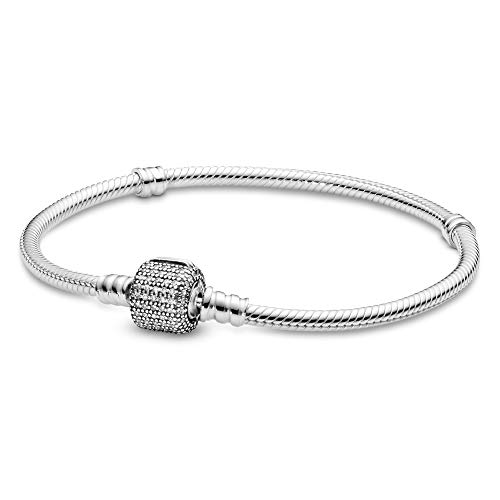 Pandora Jewelry - Moments Sparkling Pavé Clasp Snake Chain Charm Bracelet for Women in Sterling Silver with Clear Cubic Zirconia, 7.9 IN / 20 CM