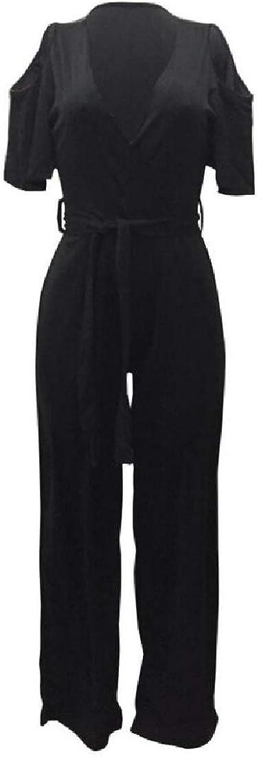 Women Floor Length Fashion Fit Tie Waist Palazzo Jumpsuits