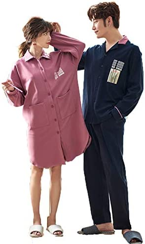 ペア パジャマ カップル 秋 冬 メンズ 上下 セット レディース ワンピース ルームウェア 綿 おしゃれ 長袖 部屋着 おそろい 寝巻き かわいい 大きいサイズ m l ll 3l 4l ピンク ネイビー 前開き