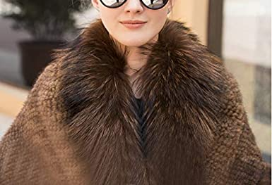 Women Knitted Mink Fur Shawl with Fox Trim Warp Winter Cape Poncho with Pocket Lady