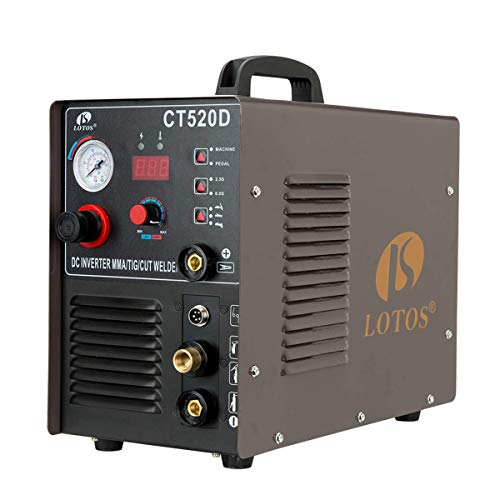 Lotos CT520D 50 AMP Air Plasma Cutter, 200 AMP Tig and Stick/MMA/ARC Welder 3 in 1 Combo Welding Machine, ½ Inch Clean Cut, Brown