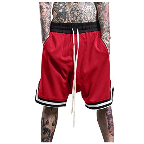 (Men's Sports Shorts, Fashionable Elastic Rope Stretch Mesh Casual Plain Pants Relaxed Fit Pants with Pocket ❤️Sumeimiya Red)