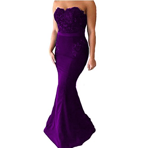 Yuxin Sexy Dark Navy Lace Mermaid Prom Dresses 2018 Strapless Elegant Long Bridesmaid Dresses Evening Party Gowns