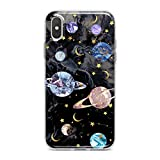 Lex Altern TPU Case for iPhone Apple Xs Max Xr 10 X 8+ 7 6s 6 SE 5s 5 Print Space Colorful Flexible Lightweight Cover Beautiful Saturn Smooth Planets Black Design Clear Gift Soft Slim fit Kid Marble