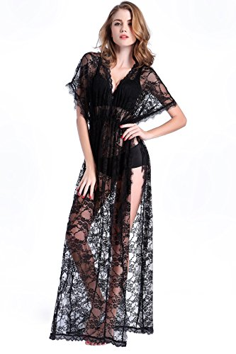 Deceny CB Sexy Night Dress Lace Babydoll Lingerie for Women See Through Gown (XL-XXL, Black)