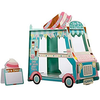 3 Tier Cake Stand | Ice Cream Party Decorations| Bus Cupcake Stand Holder | Great For Kids Party, Birthday Party Favors