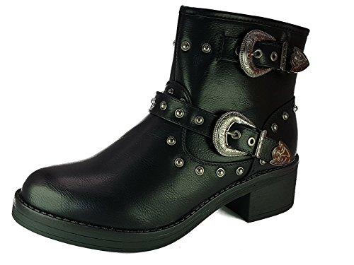 shoes scarpe stivali stivaletti donna ragazza anfibi tronchetto camperos moda comoda new tacco tg 41 colore nero tessuto fin pelle alto alla caviglia con borchie e fibbie