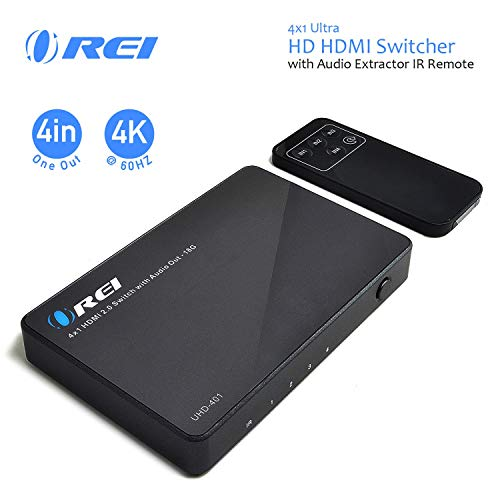 OREI 4 X 1 Ultra HD HDMI Switcher with Audio Extractor IR Remote - Supports Upto 4K @ 60Hz - (4 Input, 1 Output) Switch, Hub, Port for Cable, HD TV, Laptop, MacBook & More