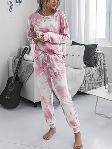 Womens Pajamas Set Tie Dye Long Tops and Pant PJ Sets Nightwear Sleepwear Loungewear