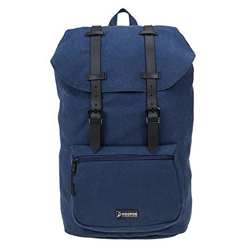 HOOPOE Urban-Ido, Navy Blue 16oz Waxed Canvas Outdoor Backpack with Padded Laptop Compartment & Earbud Hole, External Zip Pocket Water-Resistant, Lightweight, Men's Women's with Padding & Pockets by Hoopoe (Image #1)