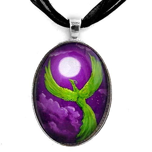 (Green Phoenix Necklace Purple Moonlight Moon Fantasy Bird Night Handmade Jewelry Art Pendant)
