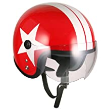 Pilot Style Open Face Motorcycle Helmet (Red White-star, Large) Model No.jet-bb