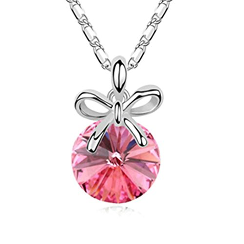 AmDxD Jewelry Alloy Pendant Necklaces for Women Bowknot and Round Rose Red 2.4X1.4CM (Madonna Material Girl Fancy Dress)