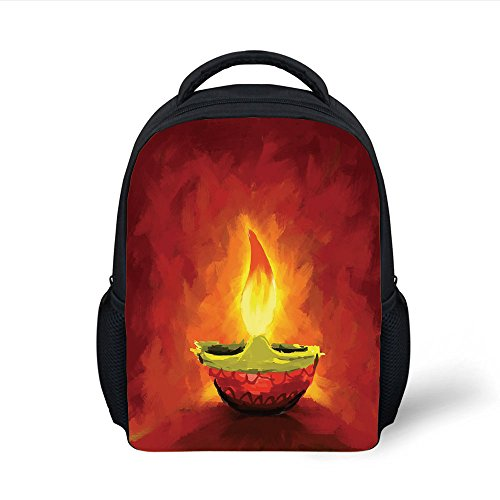 iPrint Kids School Backpack Diwali,Oil Painting Style Image Candle Diwali Religious Spiritual Festive Celebration Day Print Decorative,Red Plain Bookbag Travel Daypack by iPrint