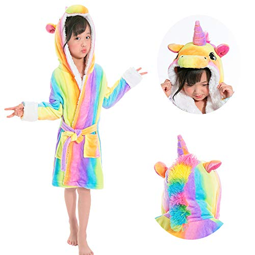 Etitek Kids Unicorn Bathrobe Sleepwear Pajama Soft Fleece Unisex Hooded  Push Robe (Rainbow Robe 52a158617
