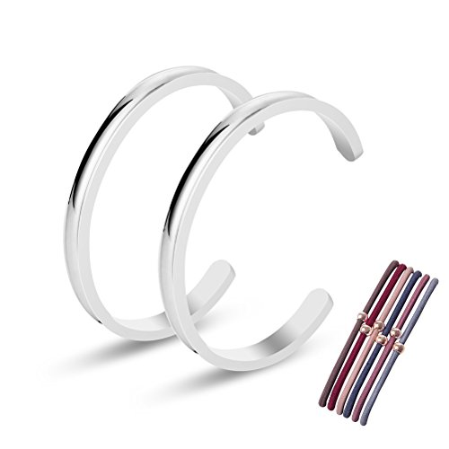 Kucheed Premium Stainless Steel High Polished Grooved Cuff Bangle Bracelet for Women Girls (2PC (High Polished Girl)